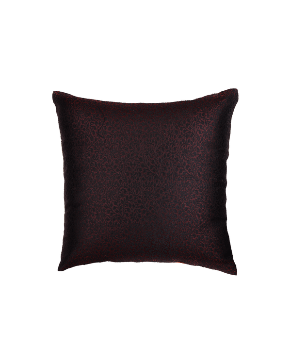 "Black Bronze Banarasi Resham Brocade Poly Cotton Cushion Cover 16"" - HolyWeaves"