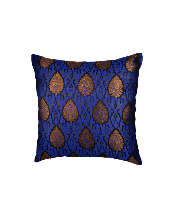 "Blue Banarasi Brocade Poly Silk Cushion Cover 16""- HolyWeaves"