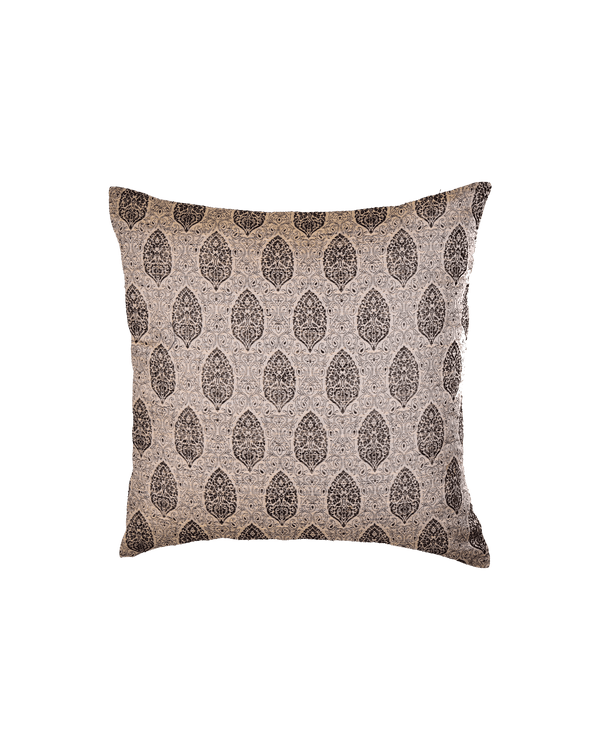 "Stone Gray Banarasi Resham Brocade Linen Silk Cushion Cover 16""- HolyWeaves"