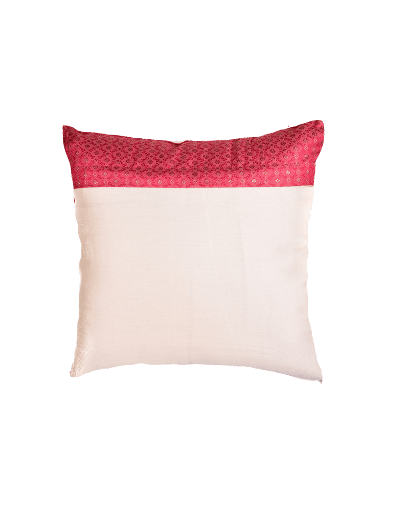 "Salmon Pink Banarasi Tanchoi Zari Buti Cotton Silk Cushion Cover 16"" - HolyWeaves"