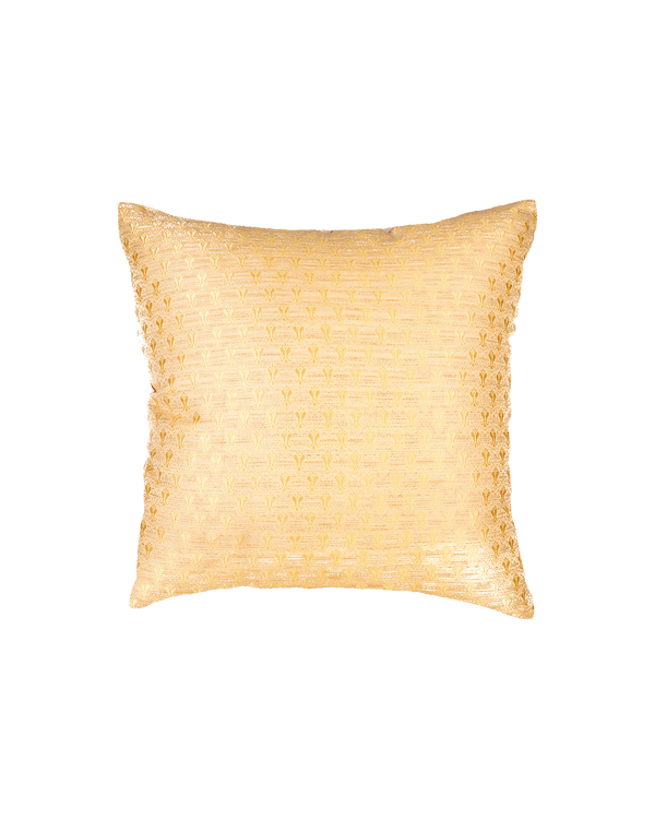 "Beige Banarasi Tanchoi Viscose Silk Cushion Cover 16"" - HolyWeaves"