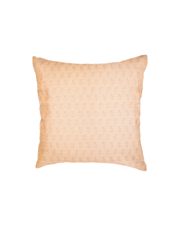 "Beige Banarasi Tanchoi Cotton Silk Cushion Cover 16"" - HolyWeaves"