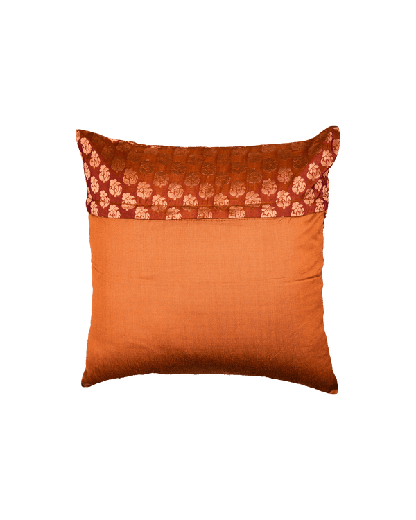 "Russet Brown Banarasi Handloom Zari Buti Silk Cushion Cover 16"" - HolyWeaves"