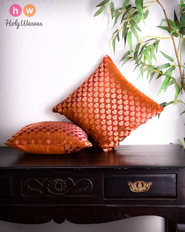 "Russet Brown Banarasi Handloom Zari Buti Silk Cushion Cover 16""- HolyWeaves"