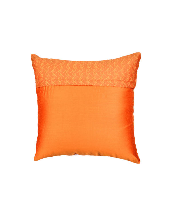 "Orange Banarasi Tanchoi Cotton Silk Cushion Cover 16"" - HolyWeaves"