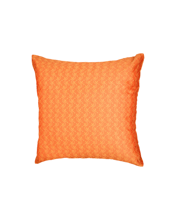 "Orange Banarasi Tanchoi Cotton Silk Cushion Cover 16""- HolyWeaves"