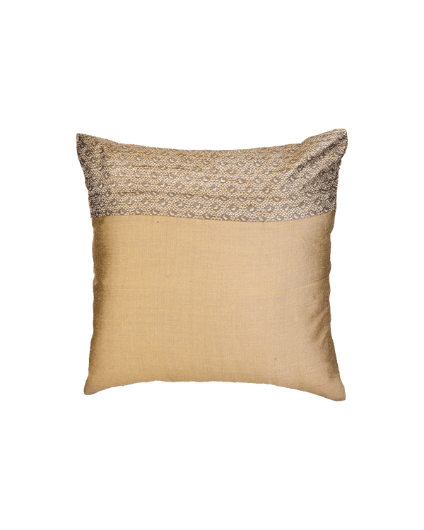"Gray Banarasi Tanchoi Cotton Silk Cushion Cover 16"" - HolyWeaves"