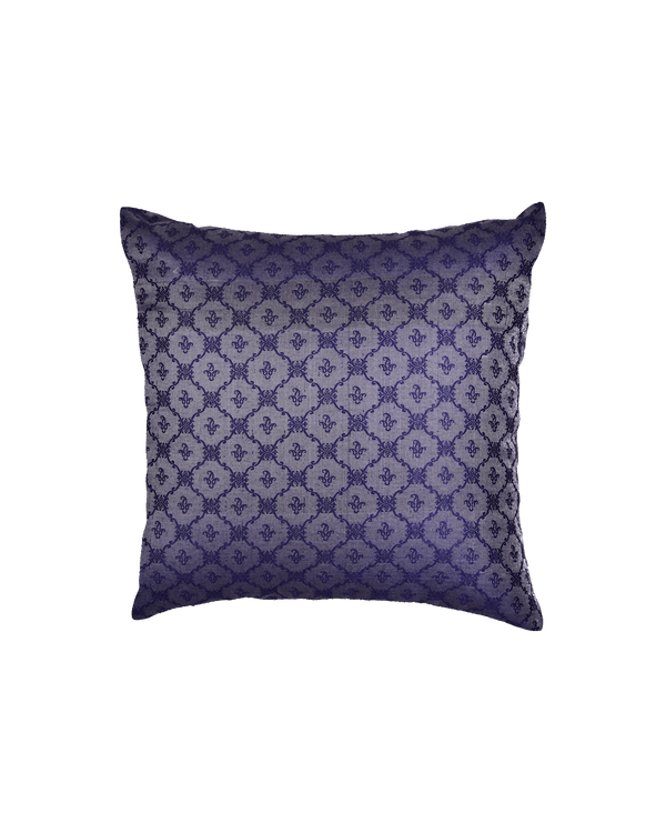 "Blue Banarasi Tanchoi Cotton Silk Cushion Cover 16"" - HolyWeaves"
