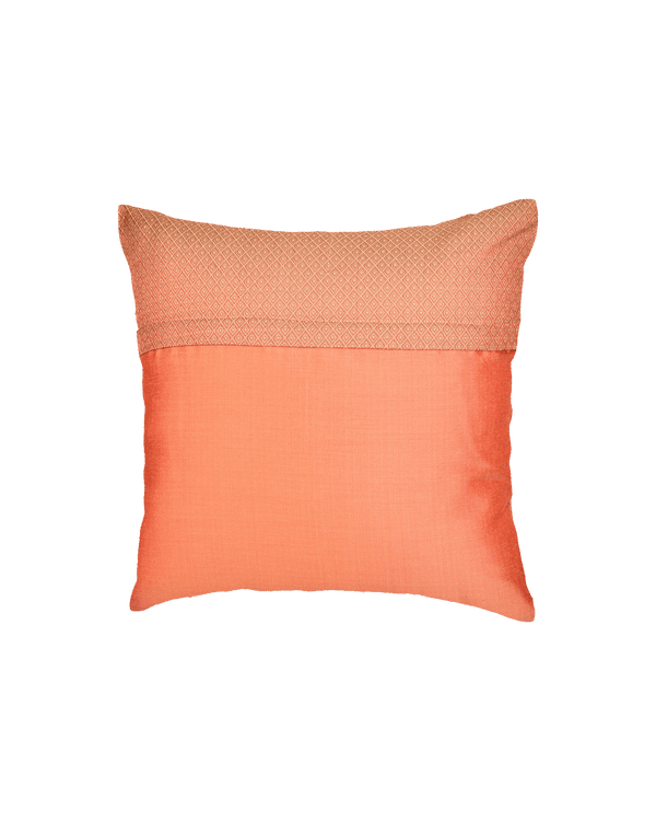 "Peach Banarasi Tanchoi Cotton Silk Cushion Cover 16"" - HolyWeaves"