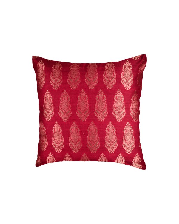 "Maroon Banarasi Handloom Brocade Cotton Silk Cushion Cover 16""- HolyWeaves"