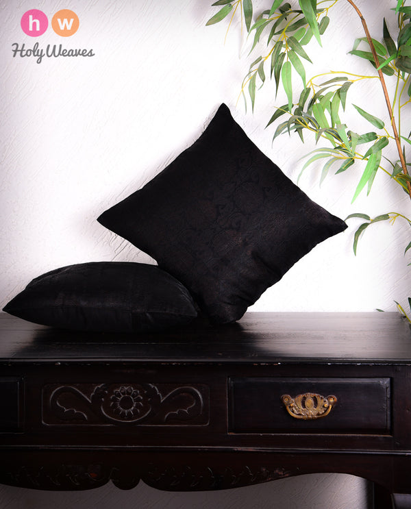 "Black Banarasi Damask Viscose Silk Cushion Cover 16"" - HolyWeaves"
