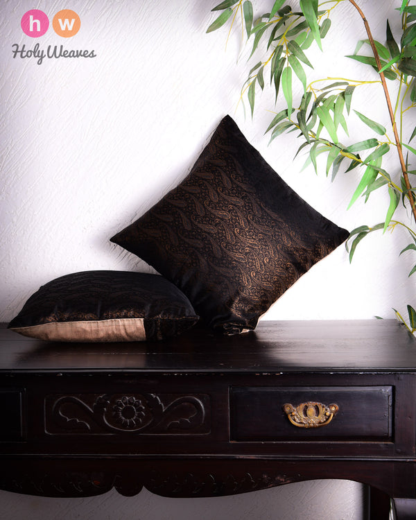 "Black Banarasi Zari Brocade Poly Silk Cushion Cover 16""- HolyWeaves"