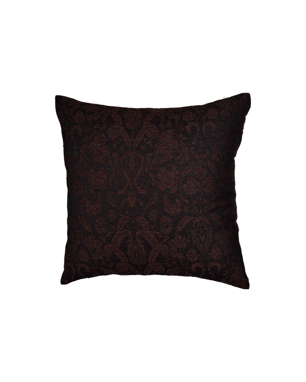"Black Banarasi Damask Cotton Silk Cushion Cover 16""- HolyWeaves"