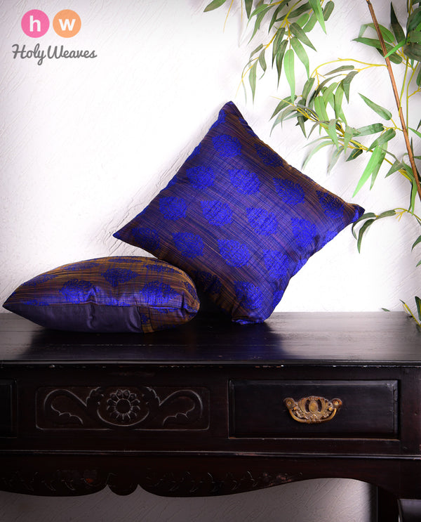 "Blue Banarasi Jharna Jacquard Poly Dupion Cushion Cover 16""- HolyWeaves"