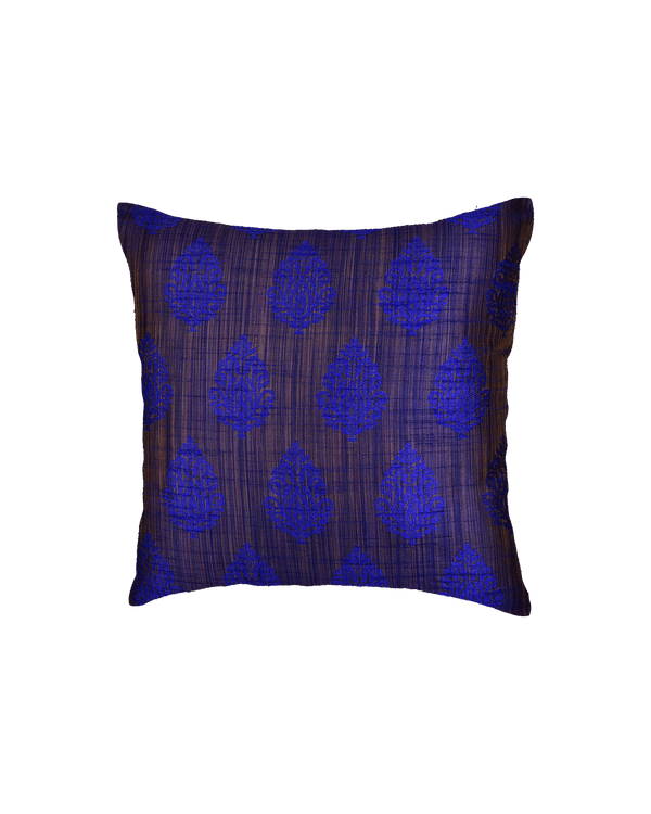 "Blue Banarasi Jharna Jacquard Poly Dupion Cushion Cover 16"" - HolyWeaves"
