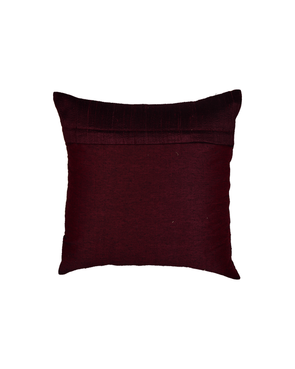"Mahogany Premium Hand-embroidered Raw Silk Centrepiece Cushion Cover 16"" - HolyWeaves"