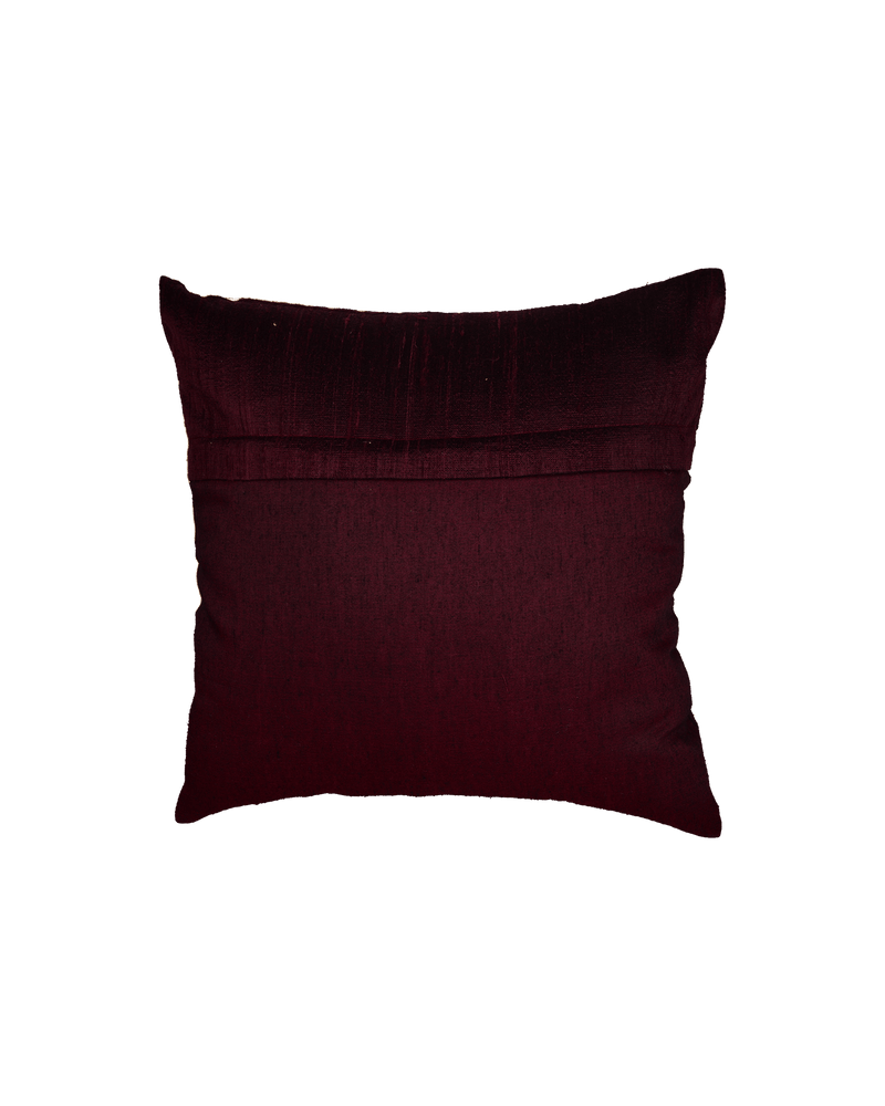 "Mahogany Premium Hand-embroidered Raw Silk Centrepiece Cushion Cover 16""- HolyWeaves"