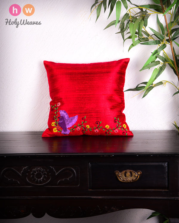 "Red Premium Hand-embroidered Raw Silk Centrepiece Cushion Cover 16""- HolyWeaves"