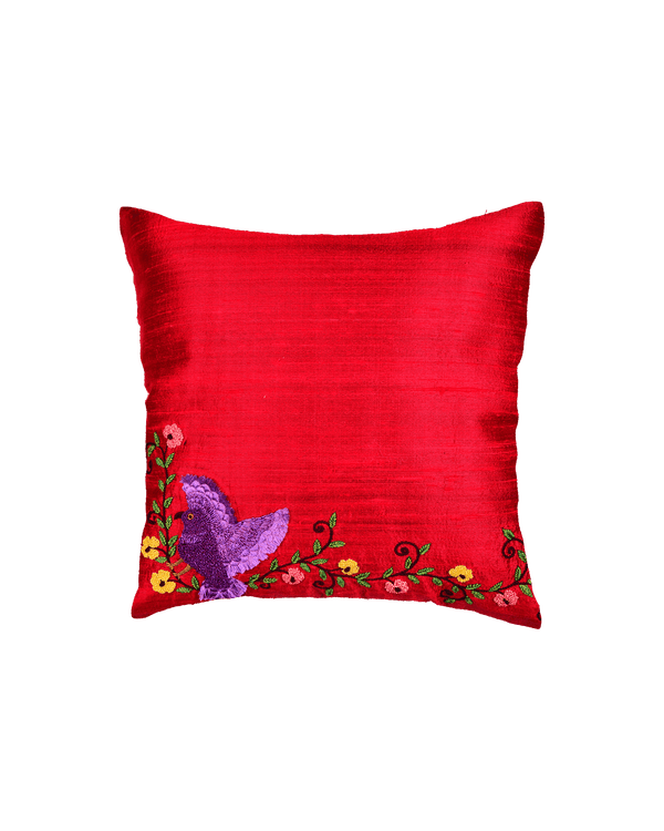 "Red Premium Hand-embroidered Raw Silk Centrepiece Cushion Cover 16"" - HolyWeaves"