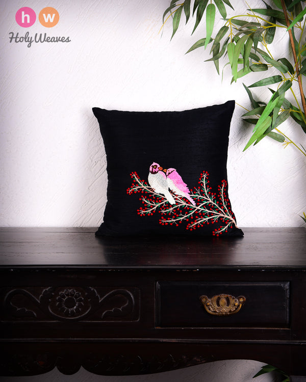"Black Premium Hand-embroidered Raw Silk Centrepiece Cushion Cover 16""- HolyWeaves"