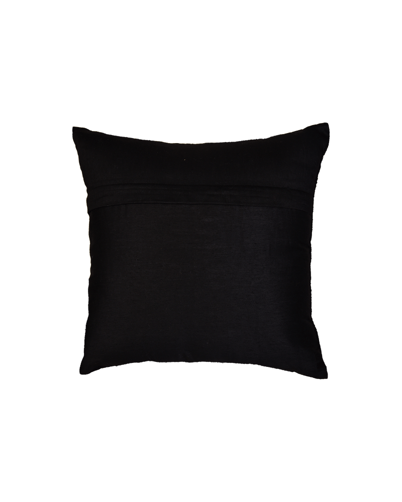 "Black Premium Hand-embroidered Raw Silk Centrepiece Cushion Cover 16"" - HolyWeaves"