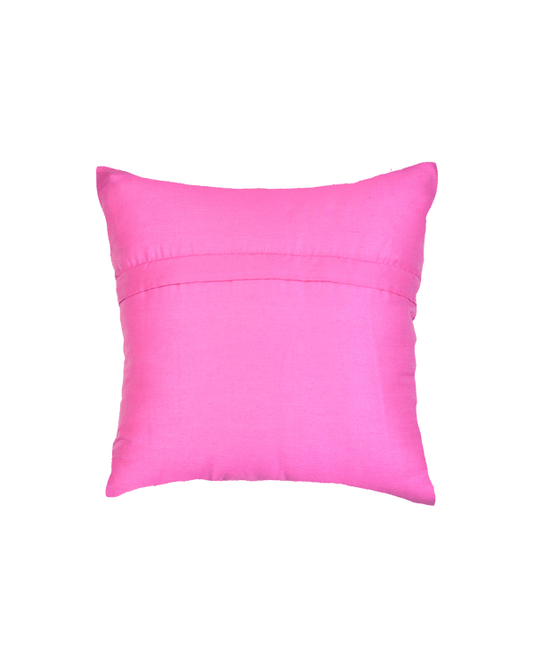 "Baby Pink Premium Hand-embroidered Raw Silk Centrepiece Cushion Cover 16"" - HolyWeaves"