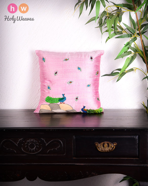 "Baby Pink Premium Hand-embroidered Raw Silk Centrepiece Cushion Cover 16""- HolyWeaves"