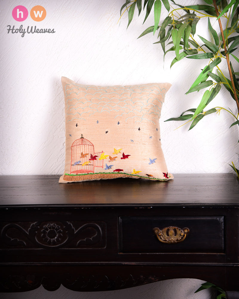 "Beige Premium Hand-embroidered Raw Silk Centrepiece Cushion Cover 16""- HolyWeaves"