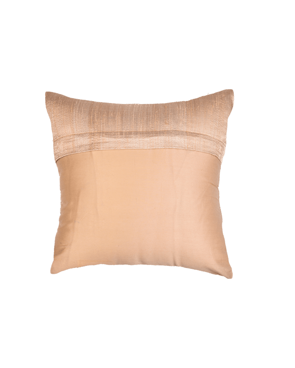 "Beige Premium Hand-embroidered Raw Silk Centrepiece Cushion Cover 16"" - HolyWeaves"