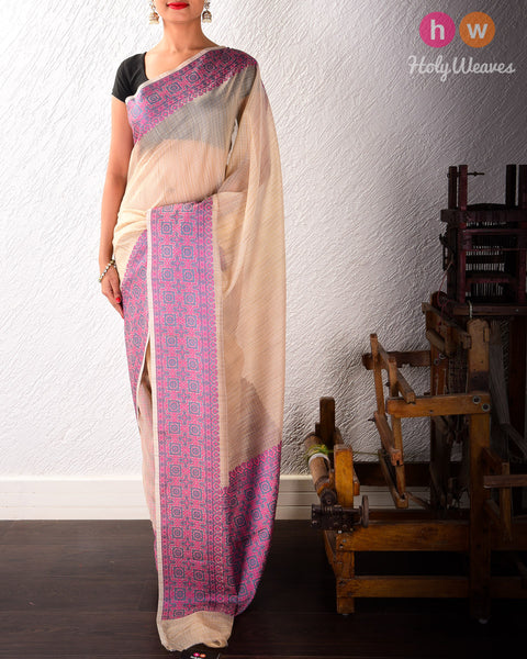 Beige-Mauve Banarasi Cutwork Brocade Woven Art Cotton Silk Saree