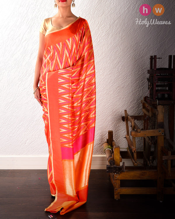 Pink-Orange Chevron Handwoven Cutwork Brocade Kora (कोरा) Silk Saree- HolyWeaves