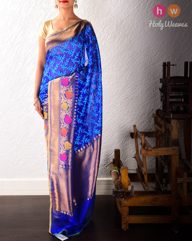 Blue Handwoven Cutwork Brocade Kora (कोरा) Silk Saree with Meenedar Bel- HolyWeaves