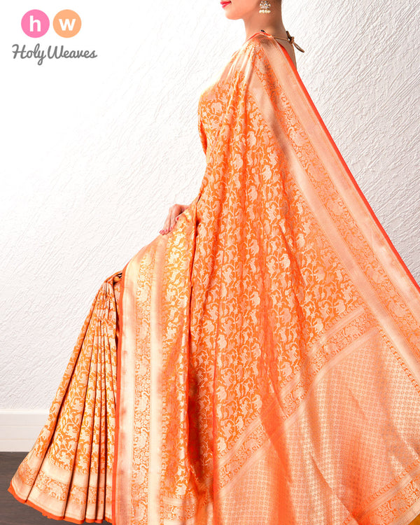 Mustard Yellow Banarasi Shikargah (शिकारगाह) Cutwork Brocade Saree with Elephant Trail Border- HolyWeaves