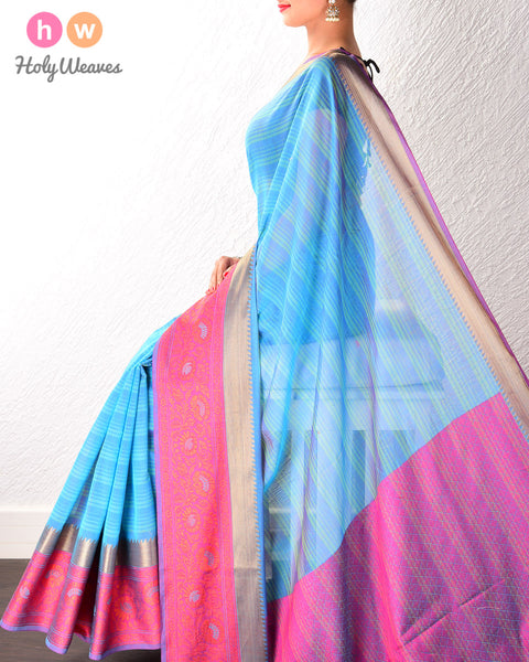Blue Striped Cotton Silk Saree with Contrast Tanchoi Border