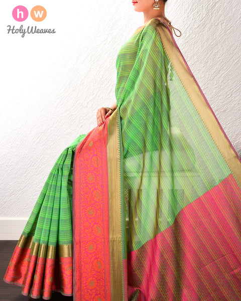 Green Striped Cotton Silk Saree with Contrast Tanchoi Border