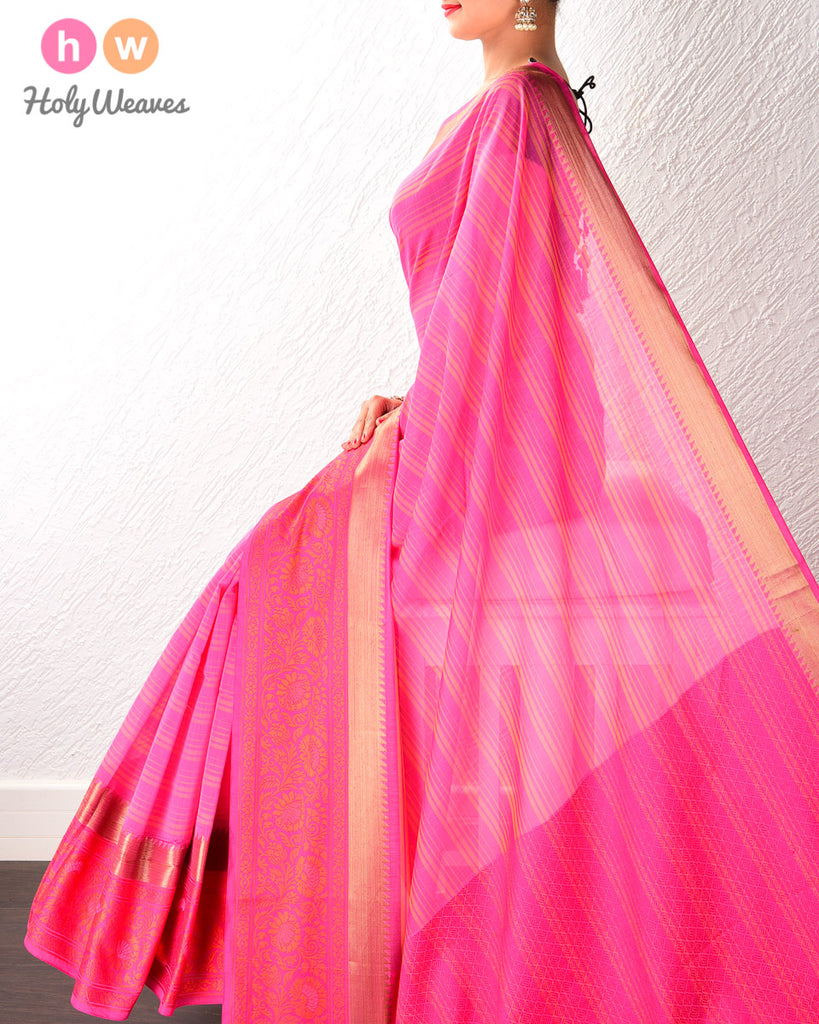 Pink Striped Cotton Silk Saree with Contrast Tanchoi Border