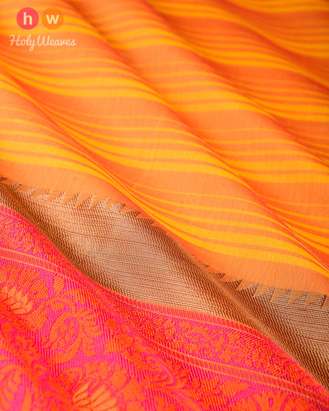 Yellow Striped Cotton Silk Saree with Contrast Tanchoi Border