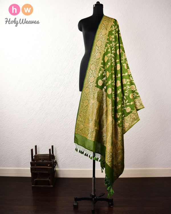 Green Banarasi Antique Jaal Cutwork Brocade Handwoven Muga Silk Dupatta - HolyWeaves