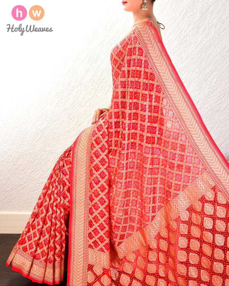Red Cutwork Brocade Handwoven Khaddi Georgette Saree with 2-color Bandhej - HolyWeaves