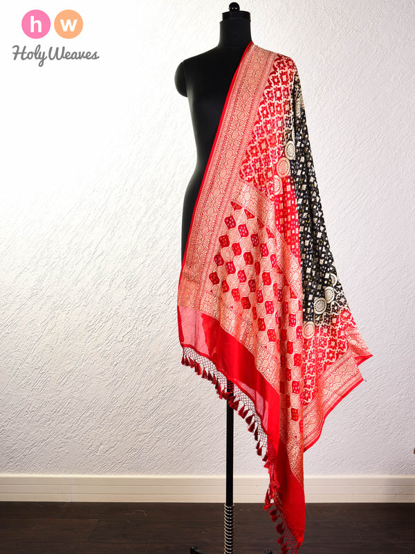 Black Cutwork Brocade Handwoven Khaddi Georgette Dupatta with 2-color Bandhej- HolyWeaves