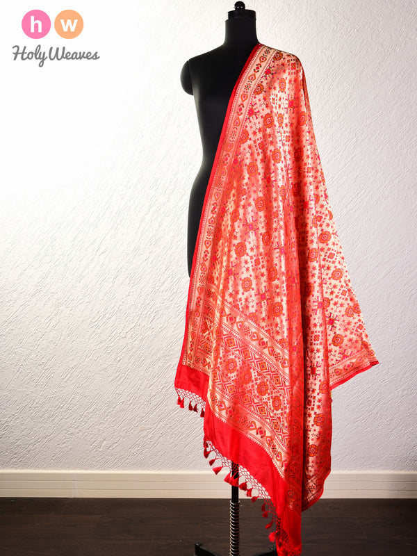 Red Tilfi Cutwork Brocade Handwoven Katan Silk Dupatta- HolyWeaves
