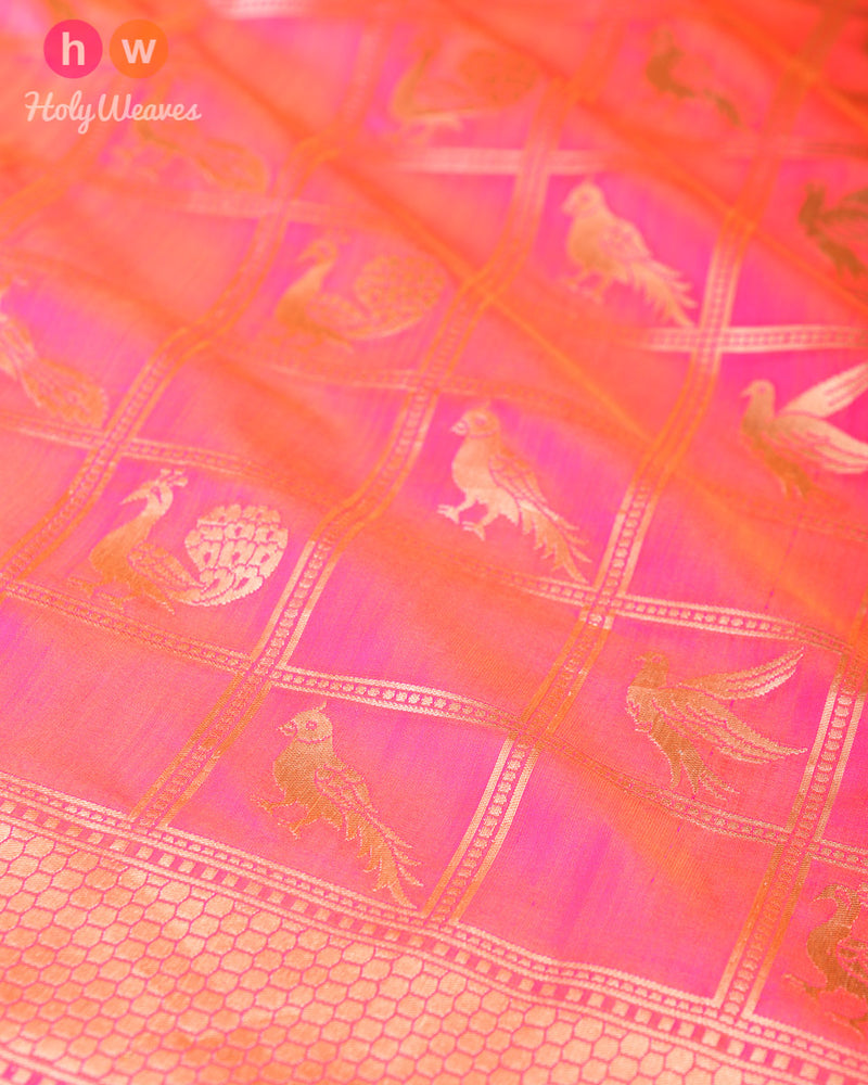Pink Katan (कतान) Silk Banarasi Peacock and Parrot Brocade Handwoven Saree- HolyWeaves