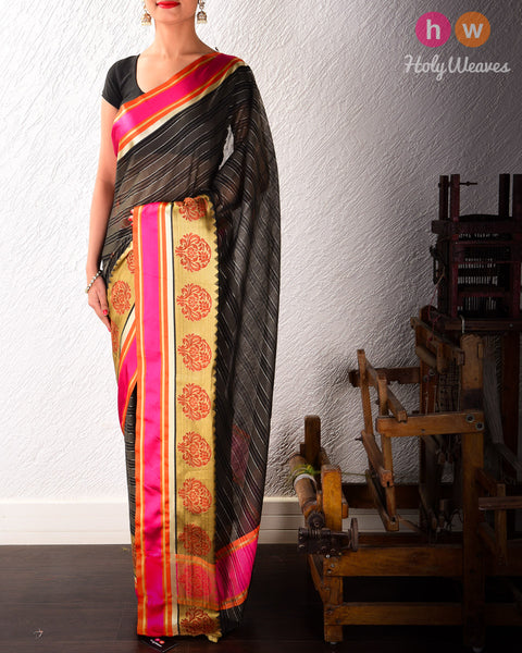Black Banarasi Cutwork Brocade Woven Art Cotton Silk Saree