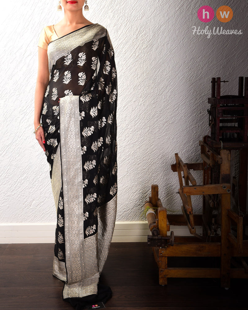Black Banarasi Cutwork Brocade Handwoven Khaddi (खड्डी) Georgette Saree with Floral Boota with Red Meena- HolyWeaves