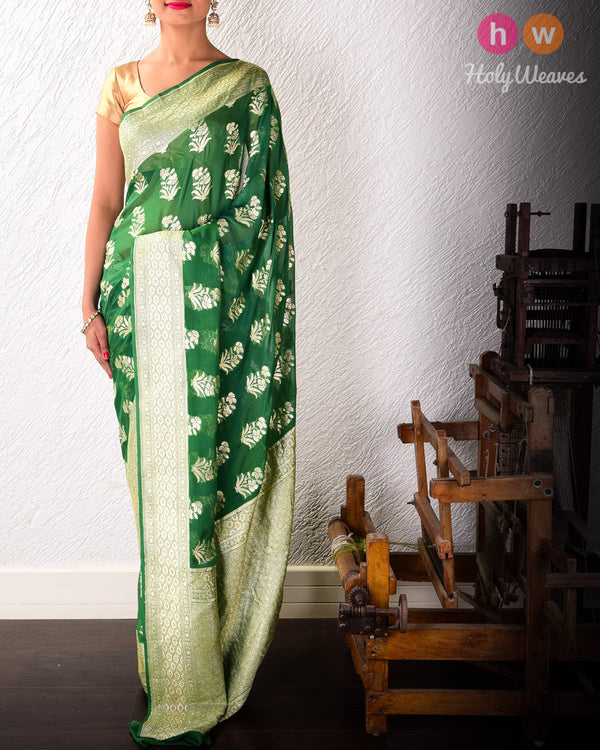 Forest Green Banarasi Cutwork Brocade Handwoven Khaddi (खड्डी) Georgette Saree with Floral Boota with Red Meena- HolyWeaves