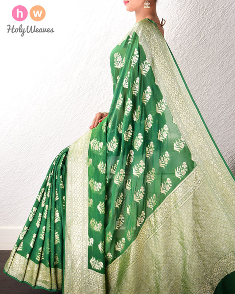 Forest Green Banarasi Cutwork Brocade Handwoven Khaddi (खड्डी) Georgette Saree with Floral Boota with Red Meena