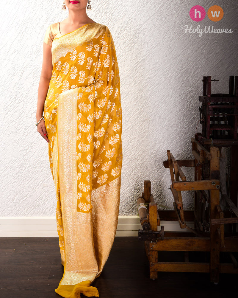 Mustard Yellow Banarasi Cutwork Brocade Handwoven Khaddi (खड्डी) Georgette Saree with Floral Boota with Red Meena - HolyWeaves