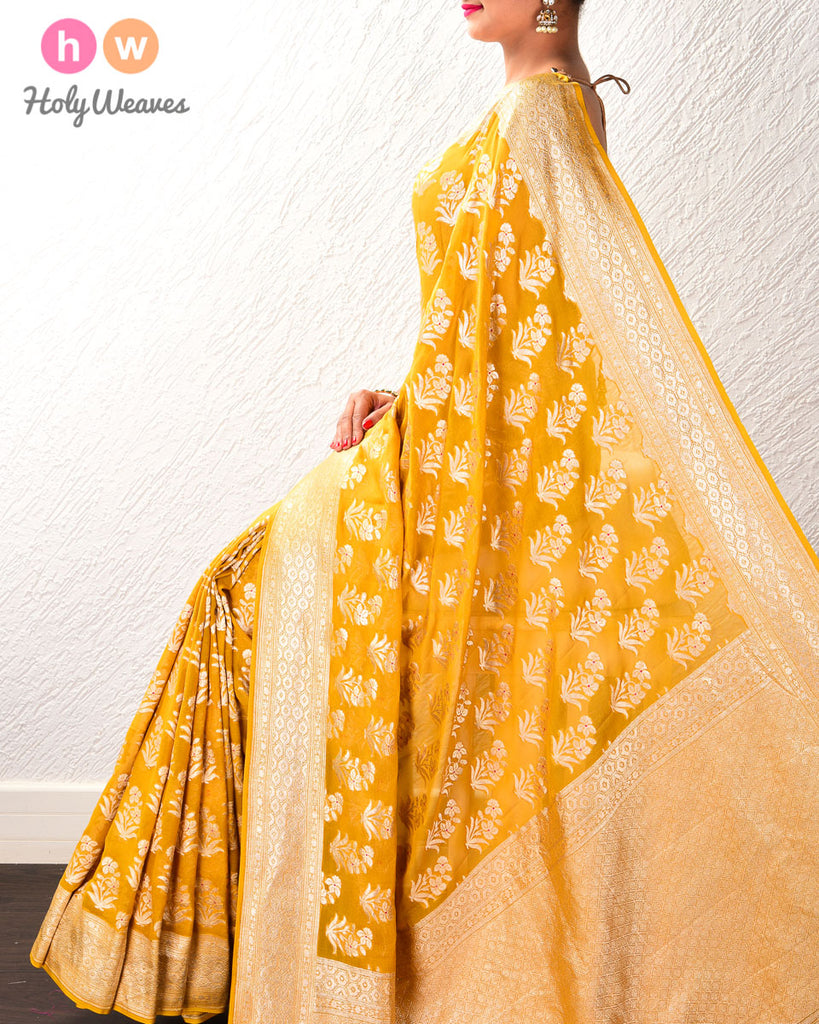Mustard Yellow Banarasi Cutwork Brocade Handwoven Khaddi (खड्डी) Georgette Saree with Floral Boota with Red Meena