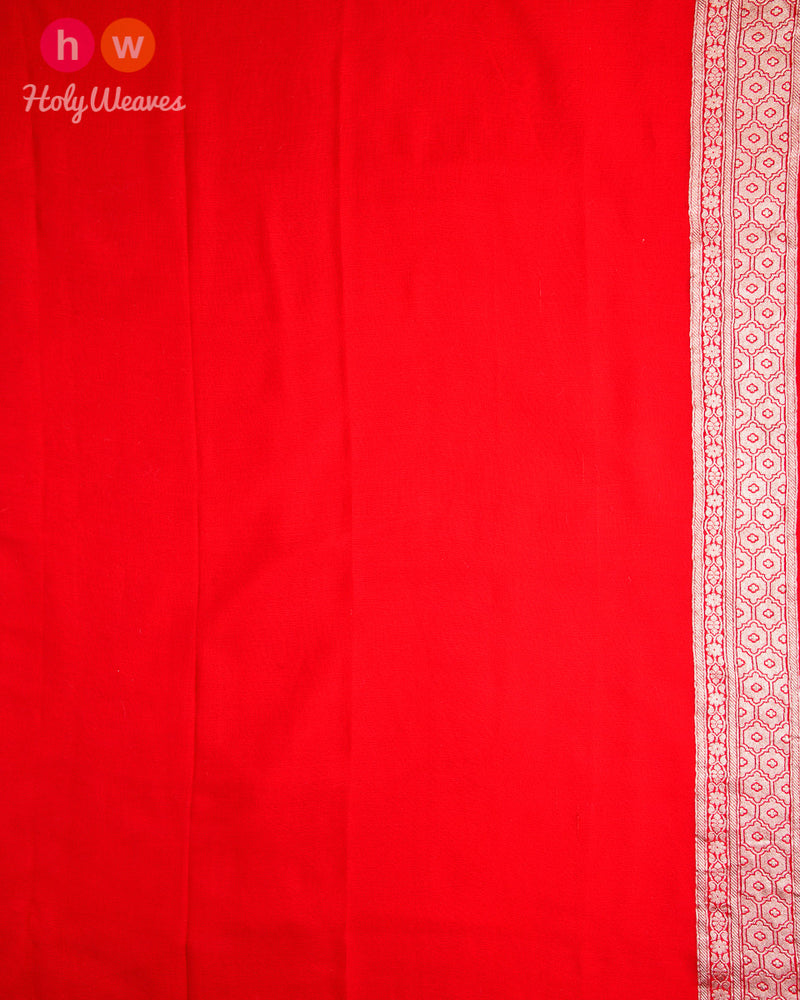 Nickel Gray Banarasi Buti Cutwork Brocade Handwoven Khaddi (खड्डी) Georgette Saree with Red Meena and Border - HolyWeaves