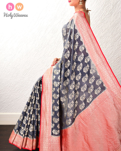 Nickel Gray Banarasi Buti Cutwork Brocade Handwoven Khaddi (खड्डी) Georgette Saree with Red Meena and Border